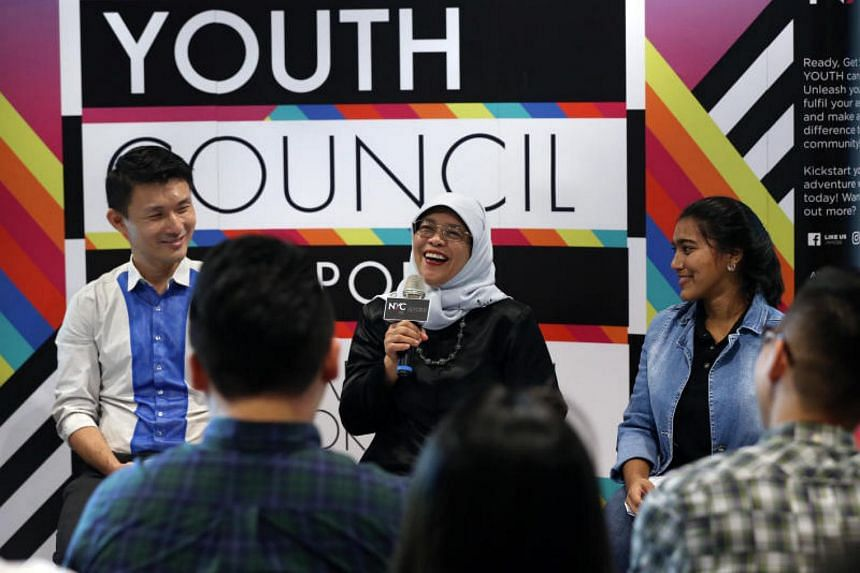 President Halimah Yacob speaking to 60 young people at a dialogue session organised by the National Youth Council (NYC).
