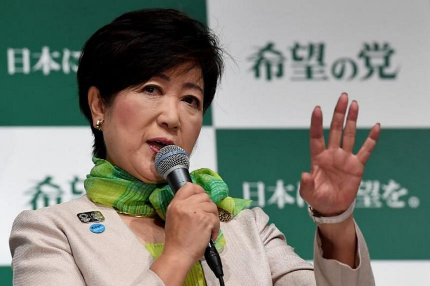 Tokyo Governor Yuriko Koike delivering a speech during an inauguration press conference on her new political party, Party of Hope on Sept 27, 2017.