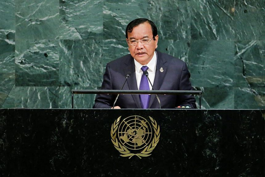 Cambodia's Prime Minister Hun Sen addresses the 72nd United Nations General Assembly at UN headquarters in New York, US, on Sept 22, 2017.
