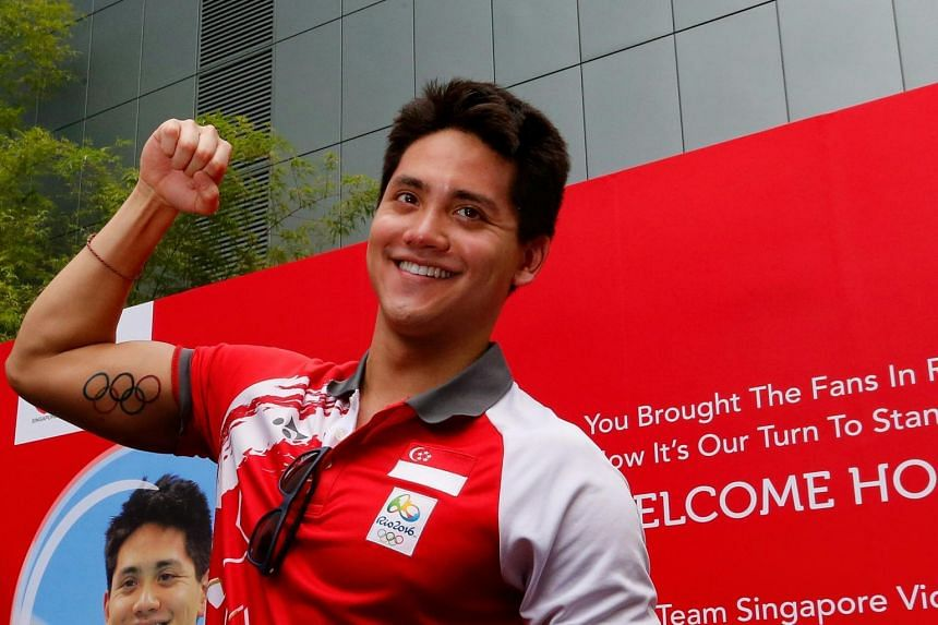 Joseph Schooling at the Singtel Comcentre Plaza during his victory parade in August 2016.