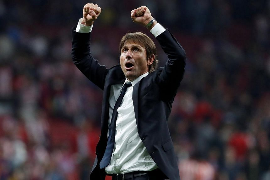 Chelsea manager Antonio Conte celebrates after the Champions League match between Atletico Madrid and Chelsea at Wanda Metropolitano, Madrid, Spain on Sept 27, 2017.