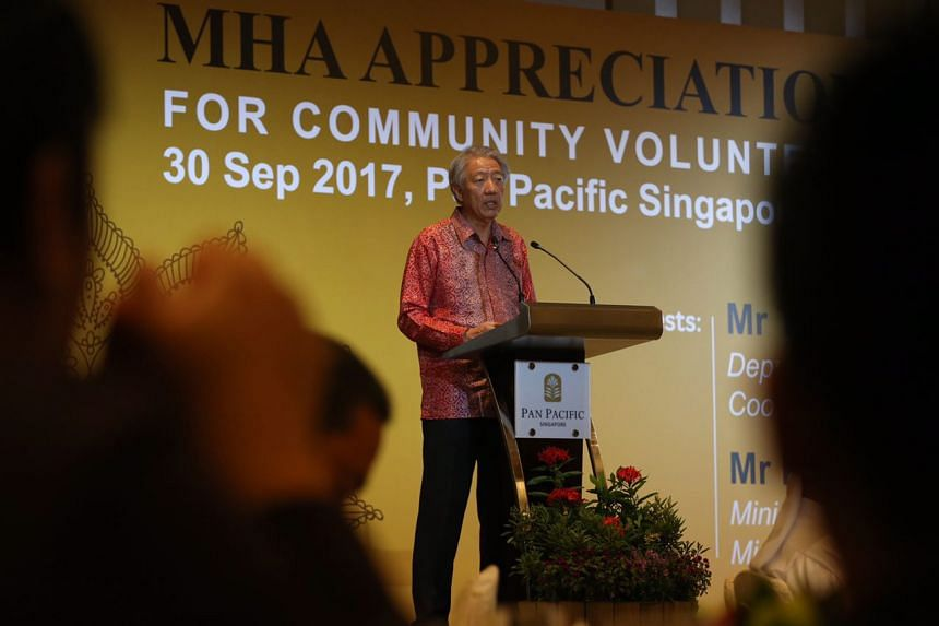 DPM Teo Chee Hean speaks at a MHA appreciation lunch for community volunteers on Sept 30, 2017.