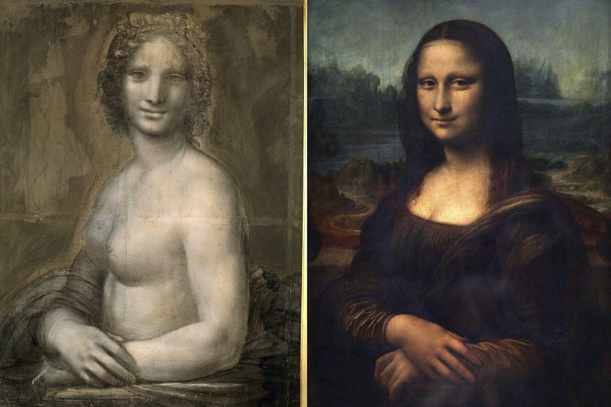 The original Mona Lisa (right) on display at the Louvre in Paris. Scientists have been examining a charcoal drawing, known as the Monna Vanna (left), which has been attributed to the master's studio.