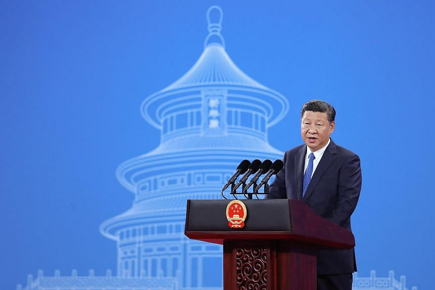 Chinese President Xi Jinping at the 86th Interpol General Assembly at Beijing National Convention Center in Beijing, China, on Sept 26, 2017.