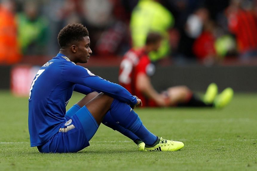 Leicester City's Demarai Gray looks dejected after the match.