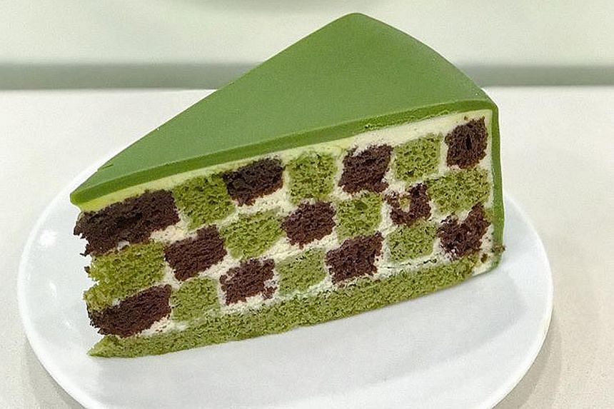 Green Tea Checkers Cake