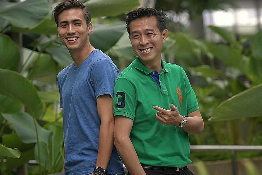 Anders Aplin (left), whose cousin is former national defender Tan Kim Leng (right). Unlike Tan, Aplin is a late bloomer.