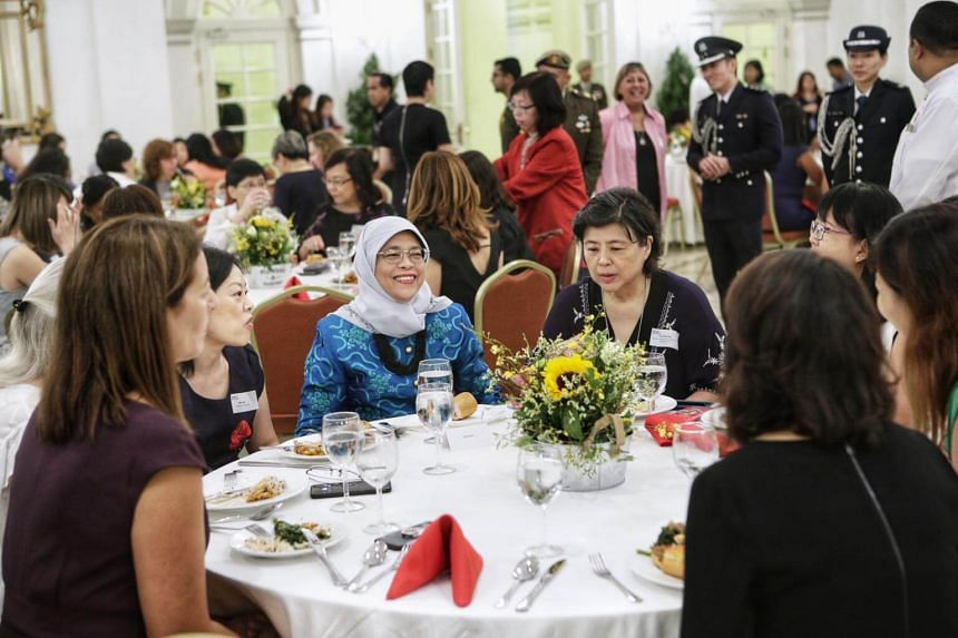 President Halimah Yacob hosted lunch for various women's groups, including the Singapore Nurses Association and the Singapore Muslim Women's Association.