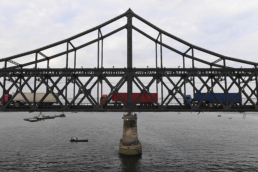The Friendship Bridge connecting the North Korean town of Sinuiju to the Chinese city of Dandong. The North's nuclear tests have angered China, which has backed tough new UN sanctions on the country.
