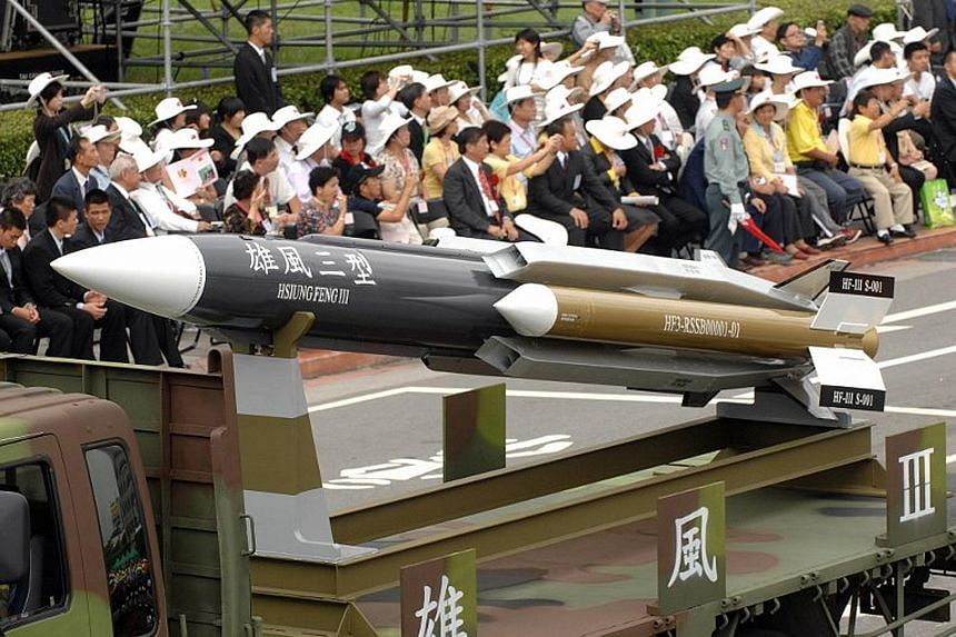 The Hsiung-feng III (Brave Wind) supersonic missile during a 2007 parade in Taipei. One such missile that was accidentally fired last year led to the death of a trawler's captain.