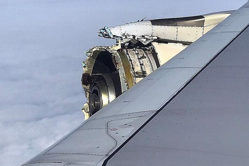 A photo posted on the Twitter account of @Bdaddy1391 shows the damaged engine of the Air France A380 superjumbo before its emergency landing in Canada over the weekend.