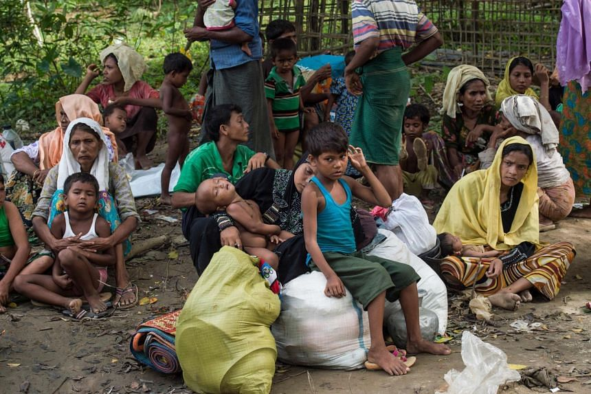 Rohingya Muslim refugees who had just arrived wait for a place to stay at Bangladesh's Balukhali refugee camp on Oct 2, 2017.