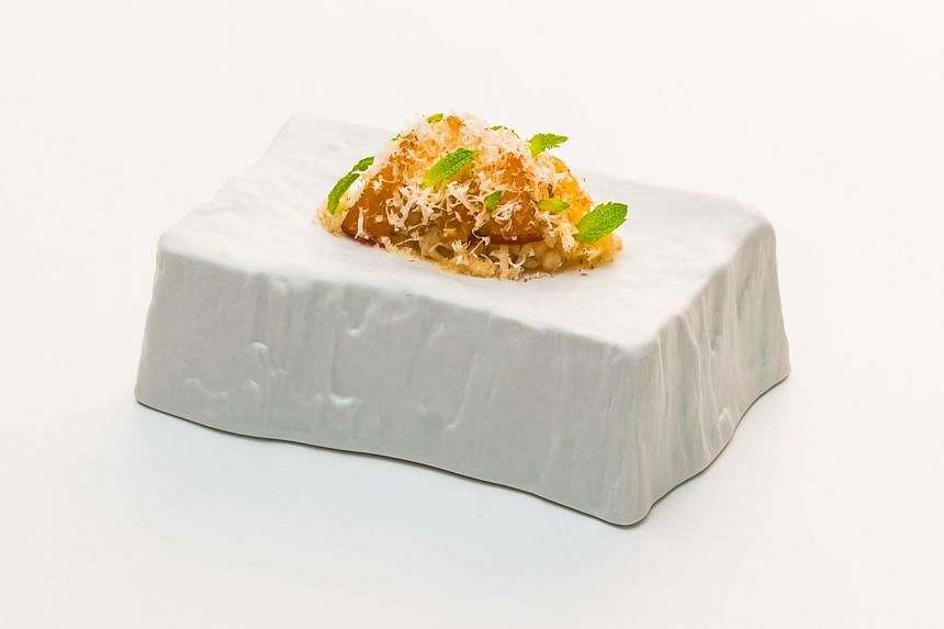 Desserts heritage, an inspired take on cheng tng in the form of chewy barley cooked in syrup.