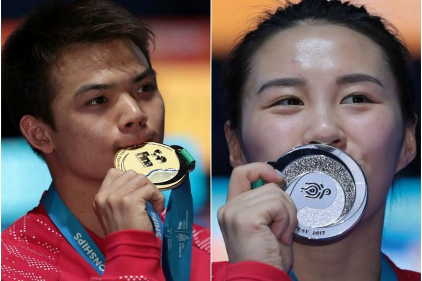 World champions Peng Jianfeng (left) and Wang Han, of China will be in action at the Fina Diving Grand Prix in Singapore from Nov 3-5.