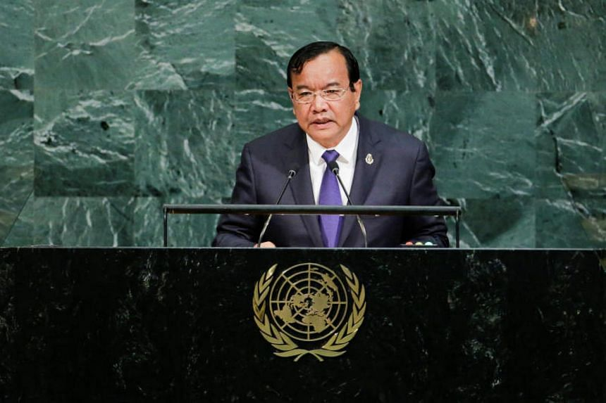 Cambodia's Prime Minister Hun Sen addresses the 72nd United Nations General Assembly at the UN headquarters in New York on Sept 22, 2017.