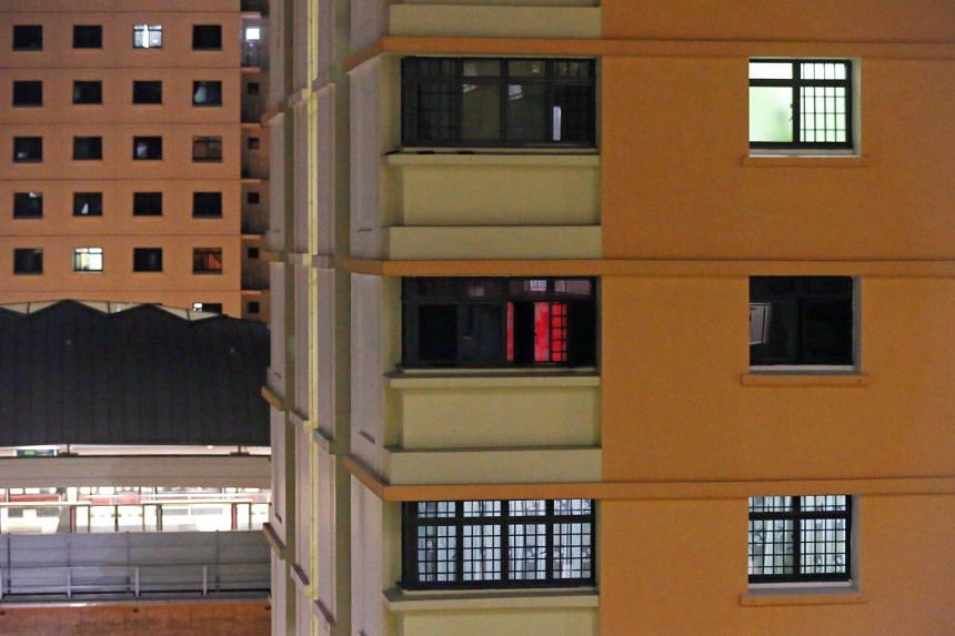A HDB flat in Jurong West where illegal prostitution is taking place, on Sept 27, 2017.