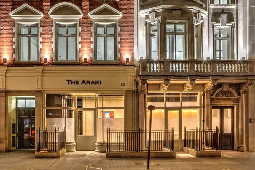 The Araki - where the set menu costs S$542 per person - in London's upmarket Mayfair district is the first Japanese restaurant in the United Kingdom to be awarded three stars in the annual appraisal.