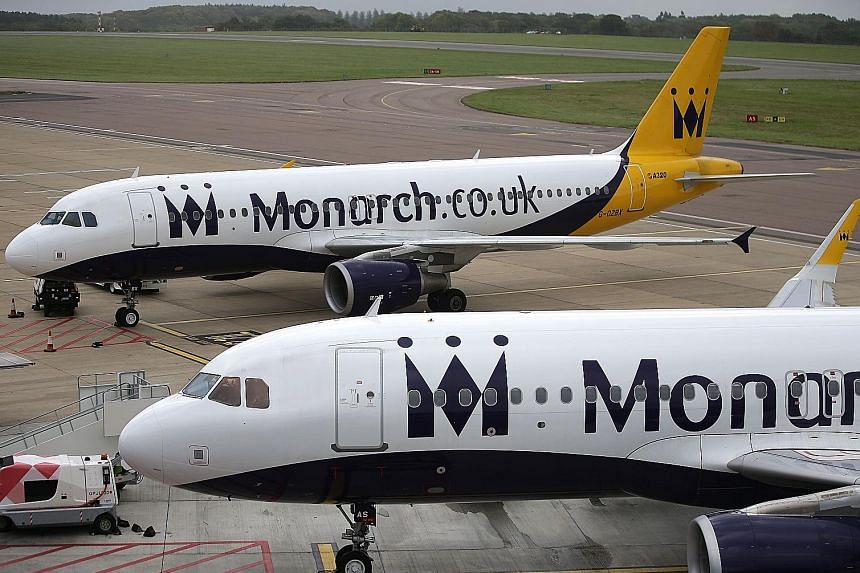 """""""We're sorry to announce that Monarch has suspended flights and holidays,"""" the budget carrier said on Twitter yesterday. The airline's collapse, meanwhile, boosted the share prices of its bigger rivals, Ryanair and EasyJet."""