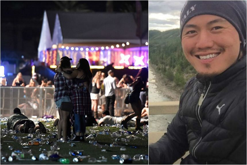 Singaporean Marcus Seng (right) was next to the Mandalay Bay Resort and Casino in Las Vegas when the shooting incident began.