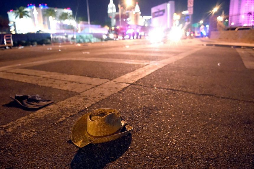 A cowboy hat lays in the street after shots were fired near a country music festival in Las Vegas, Nevada, on Oct 1, 2017.