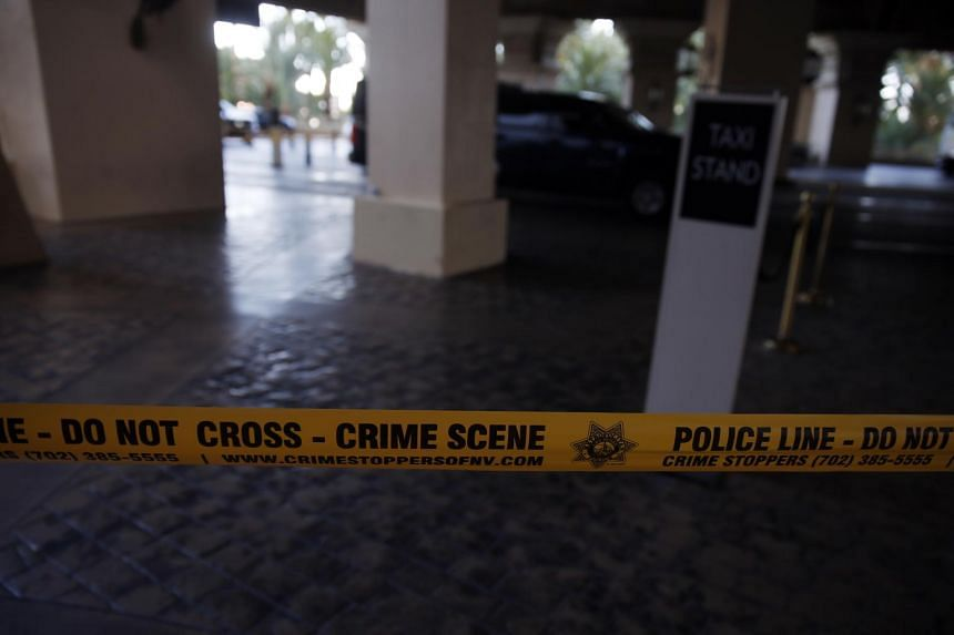 Crime scene tape outside the Mandalay Bay Resort and Casino in Las Vegas, on Oct 2, 2017.