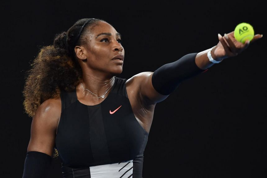 Serena Williams of the US serving against Czech Republic's Lucie Safarova during their women's singles second round match on day four of the Australian Open tennis tournament in Melbourne, on Jan 19, 2017.