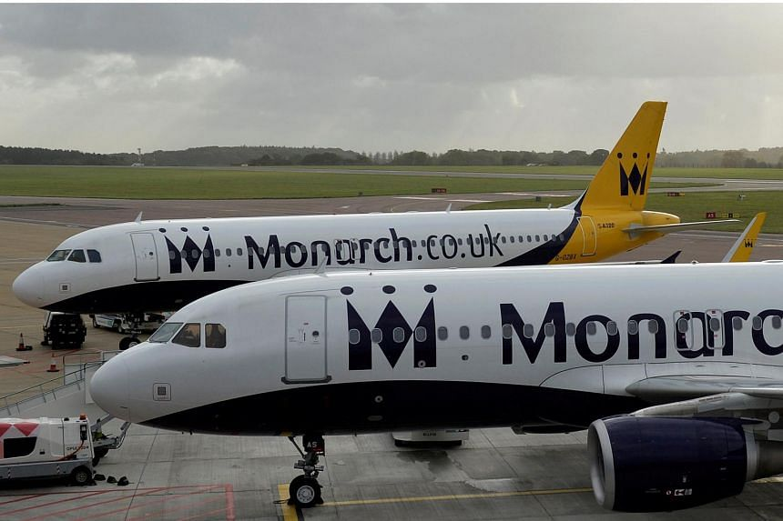 Monarch aircraft are seen parked after the airline ceased trading, at Luton airport in Britain, on Oct 2, 2017.