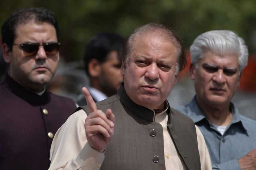 Pakistan's Prime Minister Nawaz Sharif speaks to media after appearing before an anti-corruption commission in Islamabad on June 15, 2017.