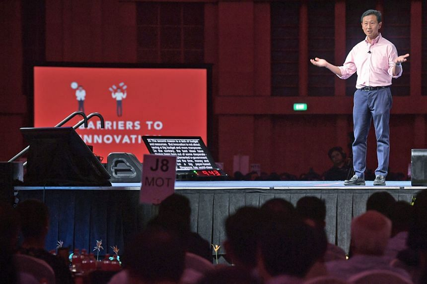 Minister for Education (Higher Education and Skills) Ong Ye Kung, who is minister in charge of innovation, speaking to 2,300 senior public servants yesterday at the Public Service Conference. He made the case for the urgency of innovation and suggest