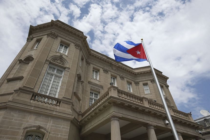 The Cuban flag shortly after being raised over the Cuban Embassy in Washington, July 20, 2015.