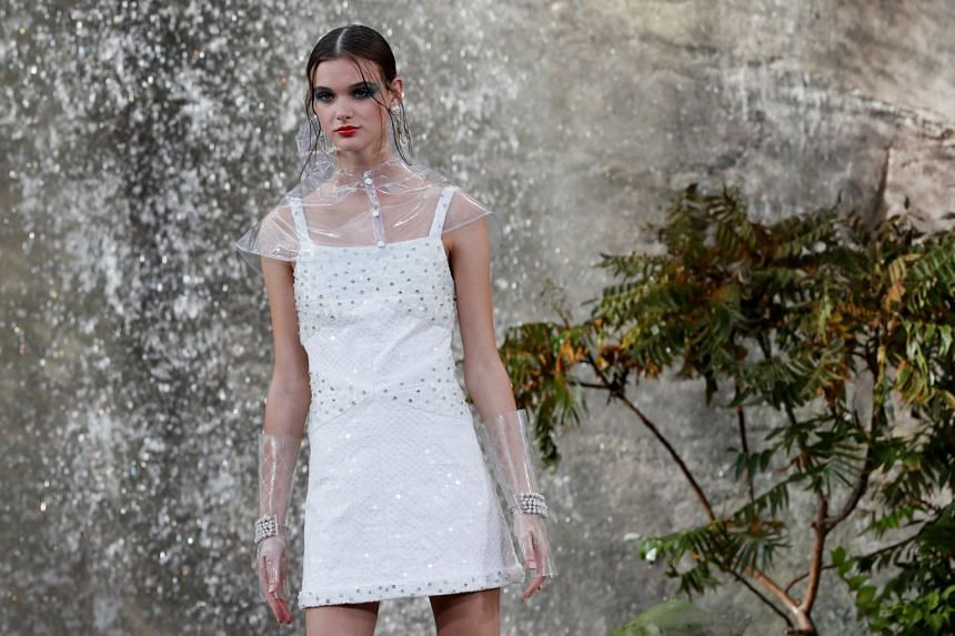 A model presents a creation by German designer Karl Lagerfeld for Chanel.