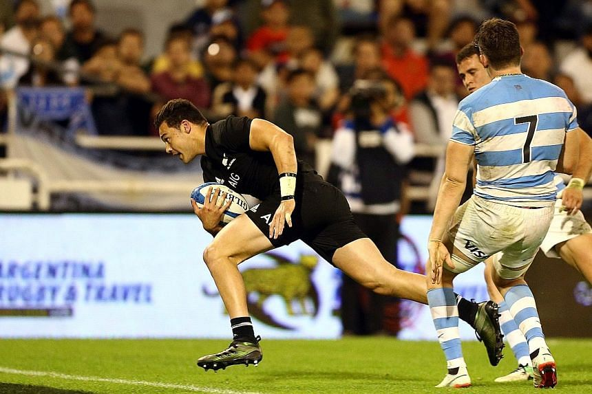 All Blacks' David Havili running through the Pumas' backline to score a try during their 36-10 Rugby Championship win in Buenos Aires last Saturday. New Zealand opted to rest several key players for the arduous trip, with bigger Tests against Europea