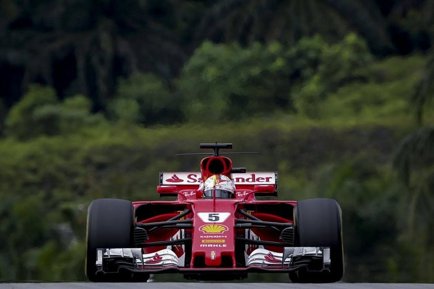 Formula One title contender Sebastian Vettel is 34 points behind Mercedes' Lewis Hamilton with five races remaining, including Sunday's race at Suzuka.