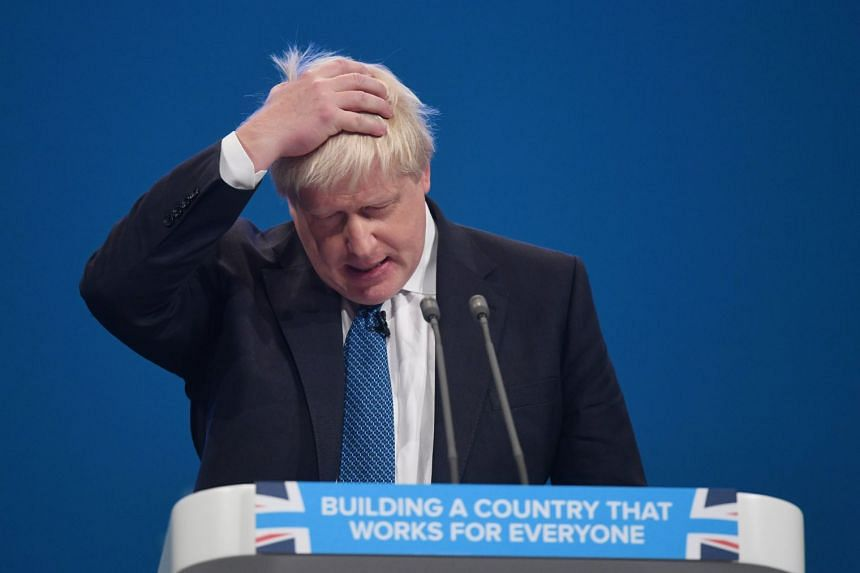 Britain's Foreign Secretary, Boris Johnson delivers his speech on the third day of Conservative Party Conference in Manchester.