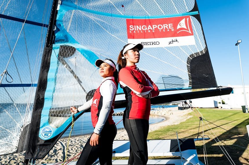 National sailors Olivia Chen (right) and Griselda Khng are trying to qualify for next year's Asian Games in Indonesia and the 2020 Olympics.