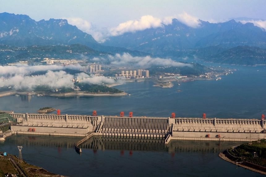 A general view shows the Three Gorges Dam on the Yangtze River in Yichang.