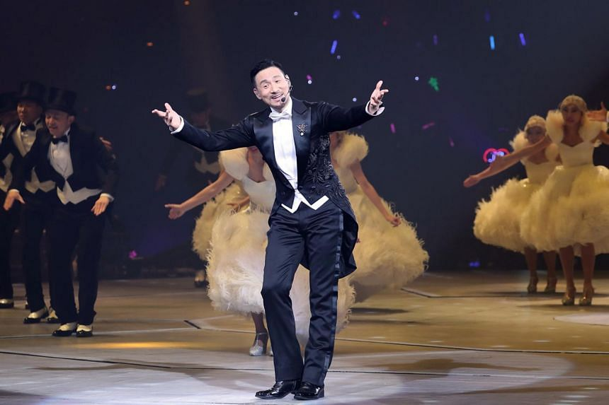 Singer Jacky Cheung performing at his concert in Singapore in Feb 2017.