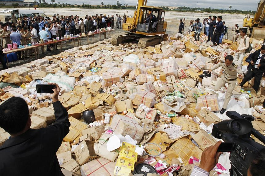 """Some 80 tonnes of fake cosmetics were destroyed in Phnom Penh yesterday, in an effort to fight illegal production and distribution. They were worth """"millions of dollars"""", said Cambodia's anti-counterfeit committee. The items were produced locally but"""