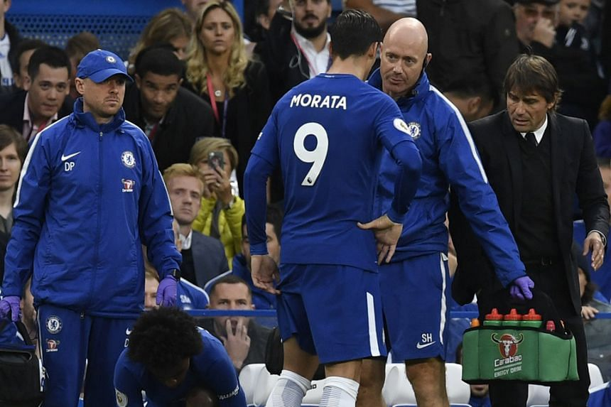 Chelsea striker Alvaro Morata coming off injured during last Saturday's defeat by Manchester City. They face a fixture congestion after their Oct 14 tie against Crystal Palace, with six games in the following 22 days and their main striker looks set