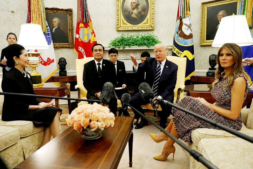 US President Donald Trump and First Lady Melania Trump welcoming Thai Prime Minister Prayut Chan-o-cha and his wife Naraporn in the Oval Office of the White House on Monday. US-Thailand ties, which had cooled after the 2014 Thai coup, are now back on