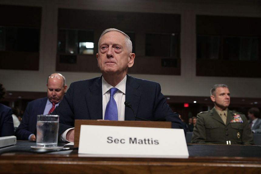 Mattis waits for the beginning of a hearing before Senate Armed Services Committee, Oct 3, 2017.