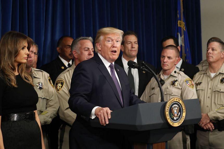 Trump speaks after meeting police officers at the Las Vegas Metropolitan Police Department.
