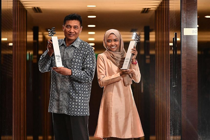 Berita Harian's Achiever of the Year Abu Bakar Mohd Nor was recognised for his zeal for lifelong learning and contributions to society, while Young Achiever of the Year Nur Yusrina Ya'akob was lauded for being the first Malay/Muslim woman from Singap