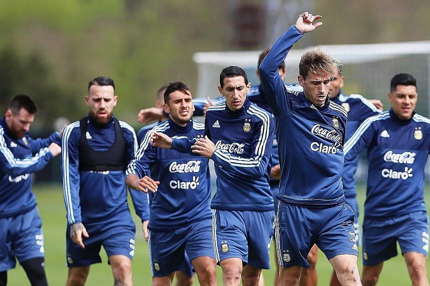 Argentina players training ahead of their crucial World Cup qualifier against Peru. The clash will take place at La Bombonera, where Peru in 1969 secured World Cup qualification at the expense of Argentina.