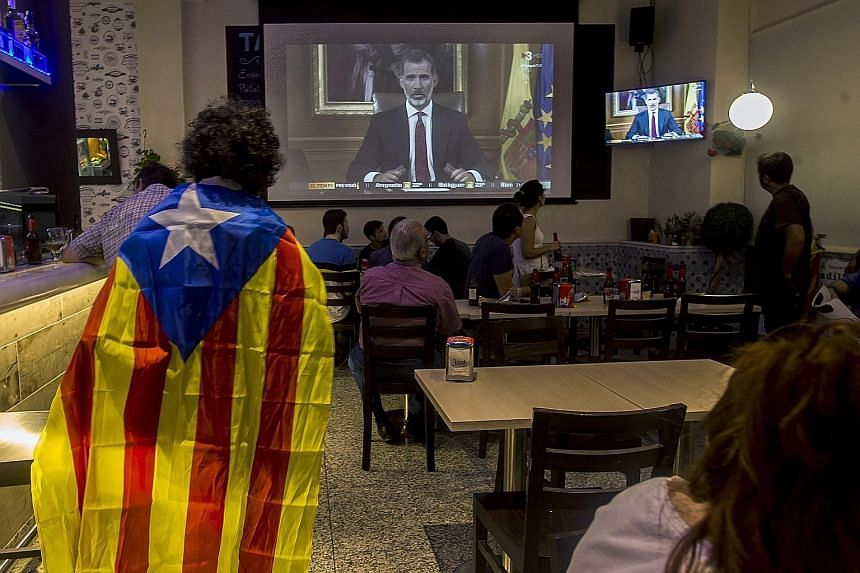 """In a televised statement on Tuesday night, two days after the banned independence referendum, Spain's King Felipe condemned the """"unacceptable disloyalty"""" of the Catalan leaders and vowed to keep the country together."""