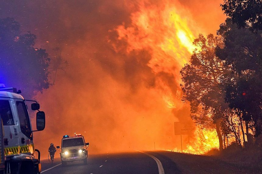 An out-of-control bushfire in Western Australia early last year. The increase in Australian summer temperatures indicates that other major cities in the country should also be prepared for unprecedented future extreme heat, said climate scientist Sop