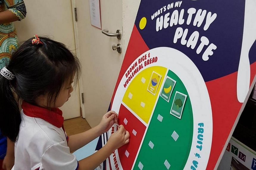 As part of the Nurture Kids programme, nutrition workshops are conducted to teach pre-schoolers about food types and the Healthy Plate concept for balanced meals.