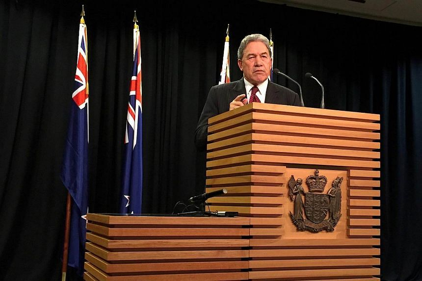 Winston Peters, leader of the New Zealand First Party, speaks during a media conference in Wellington.