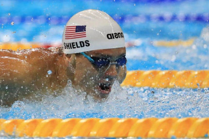 Tom Shields competes during the 2016 Rio Olympics Men's 100m Butterfly Heats.
