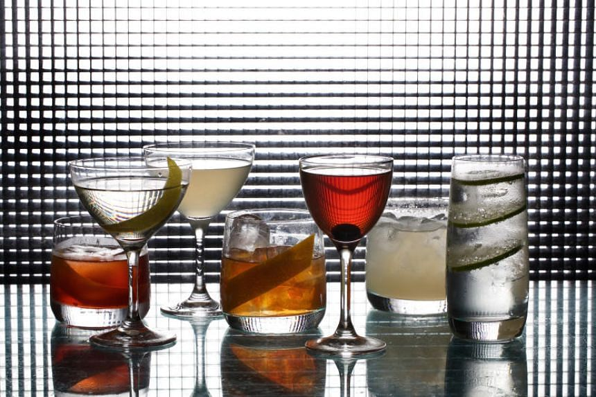 Seven essential cocktails, from left: Negroni, Martini, Daiquiri, Old-Fashioned, Manhattan, Margarita, and Gin and Tonic. They were made for The Washington Post by bartender Andrea Tateosian at Urbana in Washington.